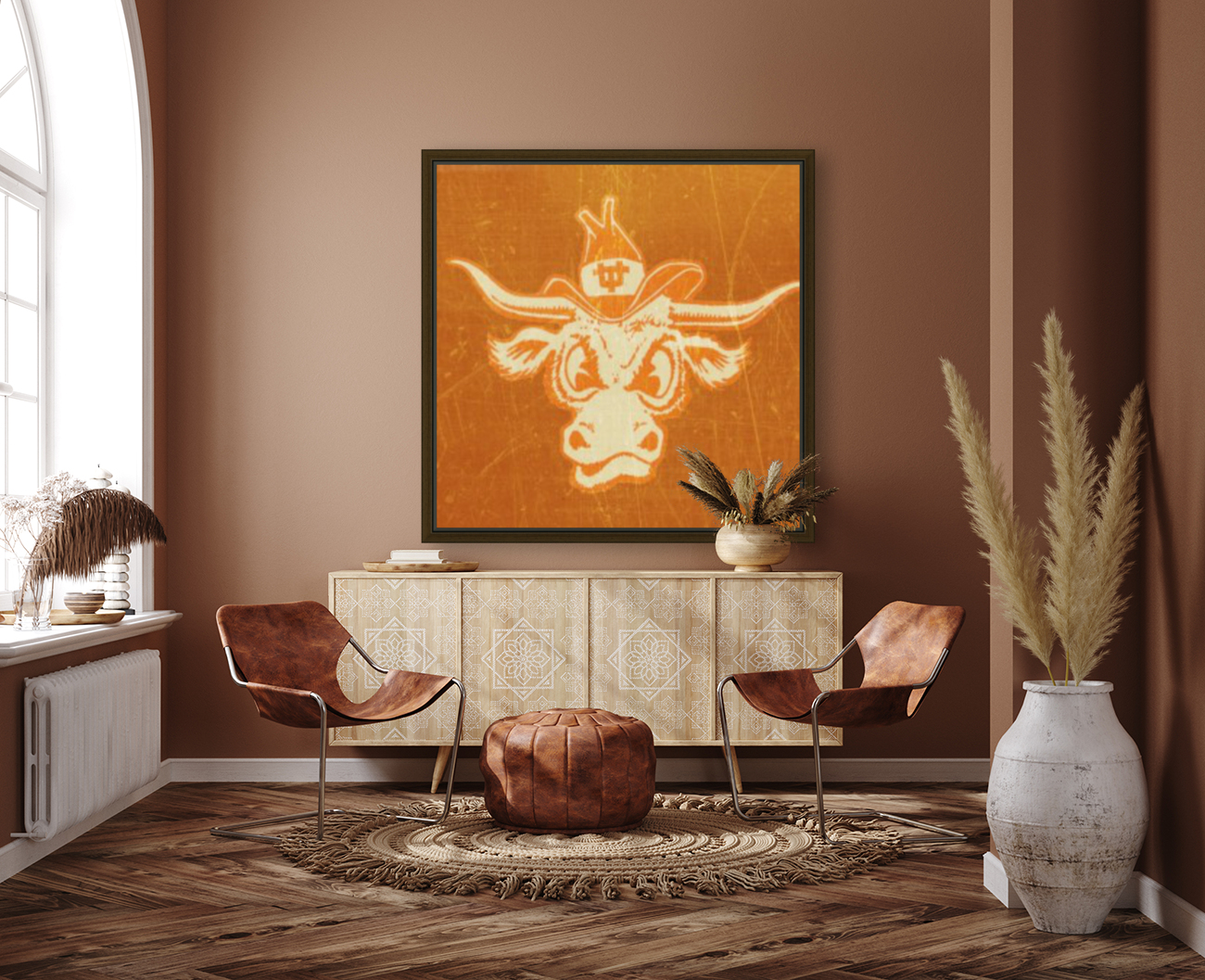1950s Texas Longhorn Art with Floating Frame