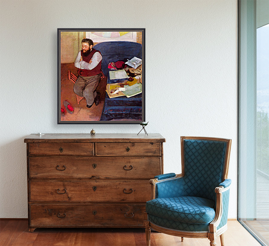 Portrait of Diego Martelli by Degas with Floating Frame