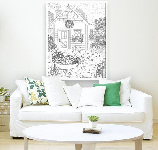 Autumn Cottage Coloring Page  Art