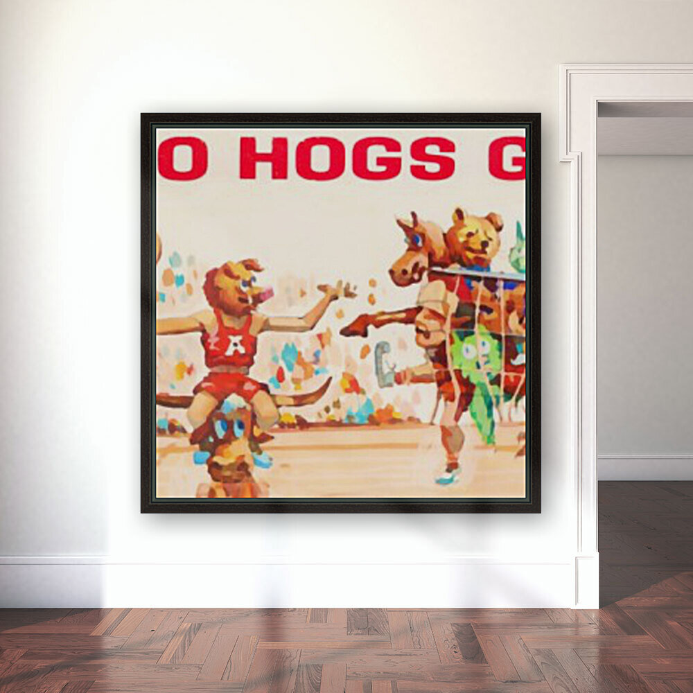 1984 Arkansas Cartoon Basketball Art  Art