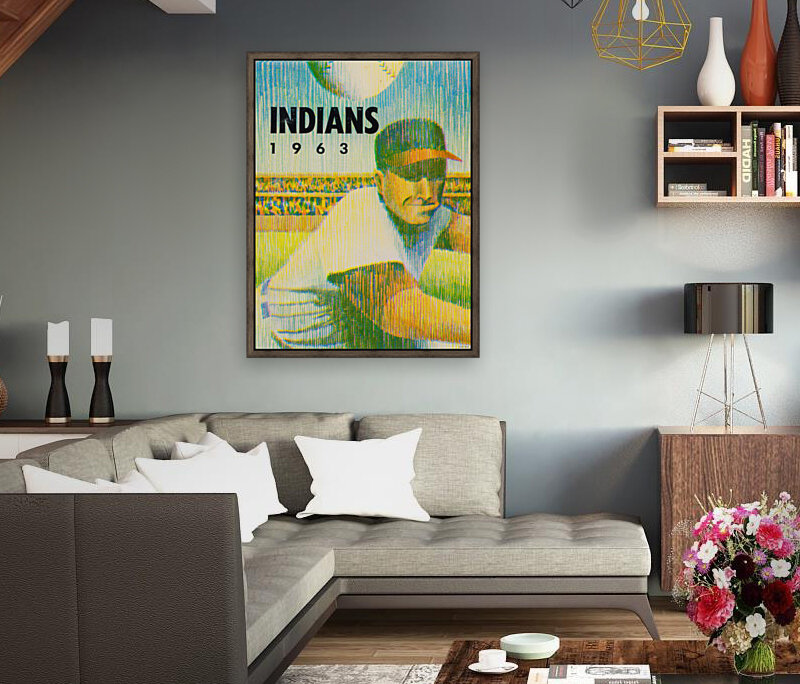 1963 Cleveland Indians Art with Floating Frame