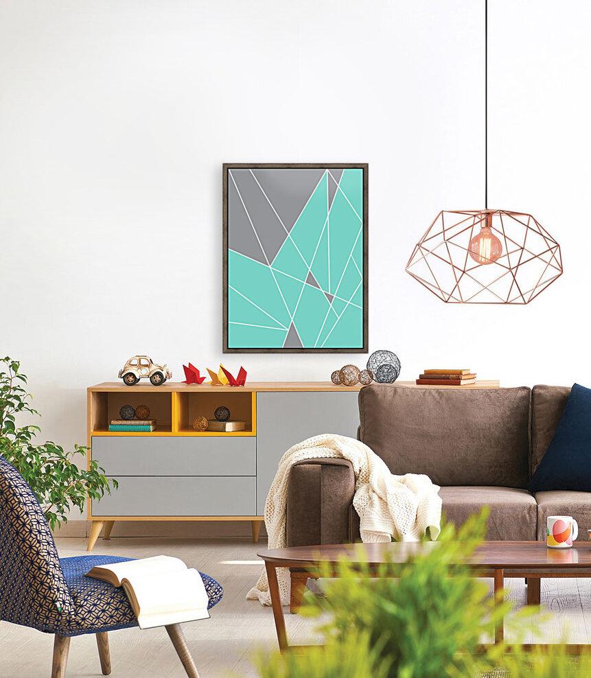 Gray Teal Triangles Geometric Art GAT101-2  Art