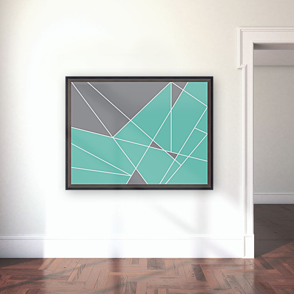 Gray Teal Triangles Geometric Art GAT101-3  Art