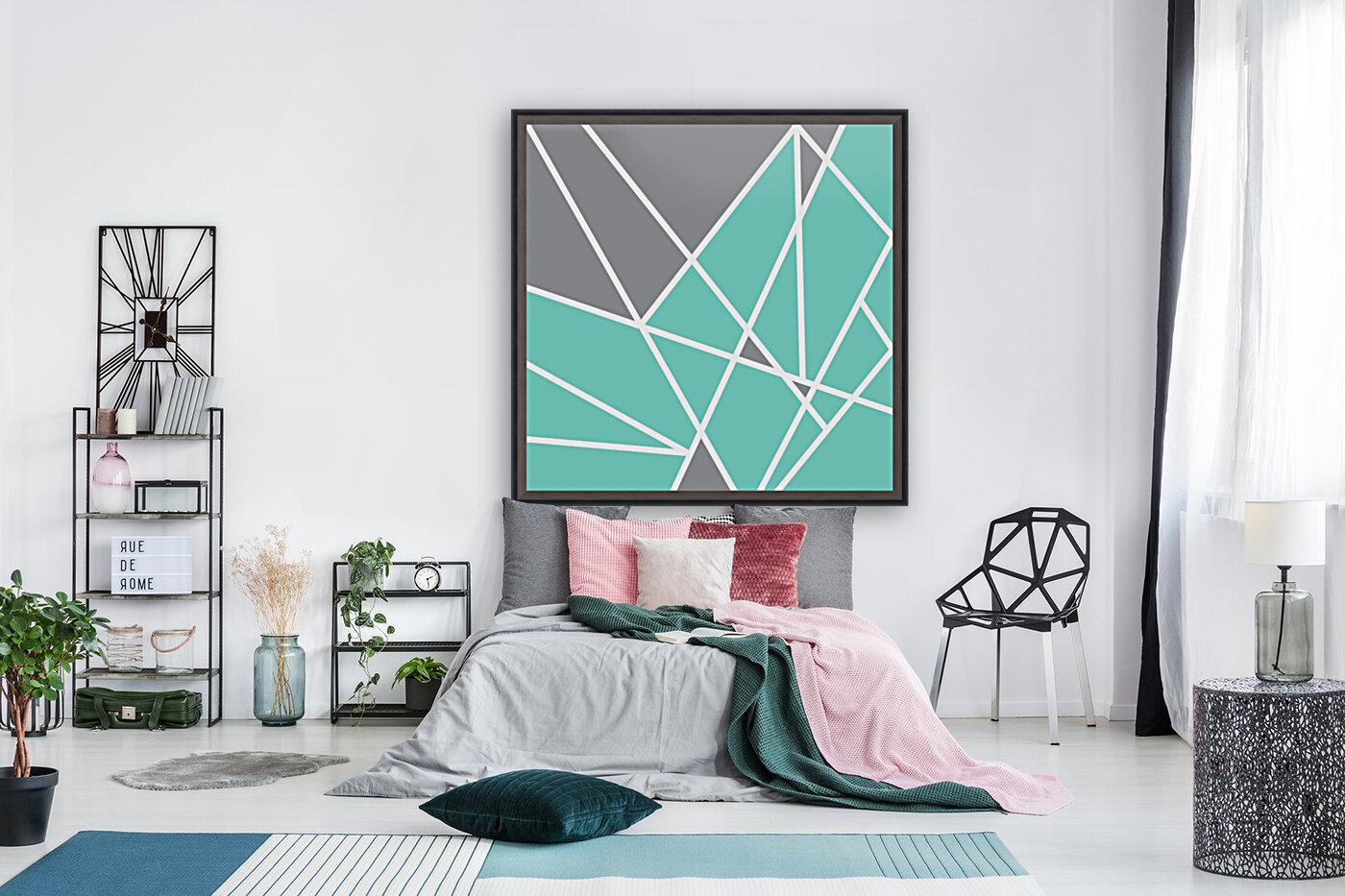 Gray Teal Triangles Geometric Art GAT101 square  Art