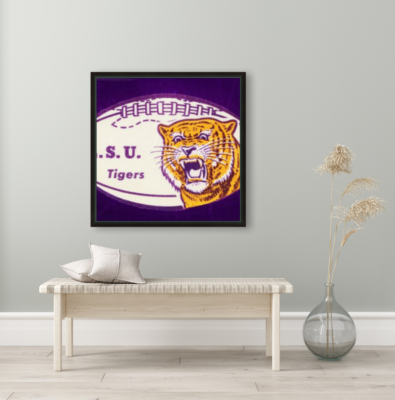 1960s LSU Tigers Football with Floating Frame