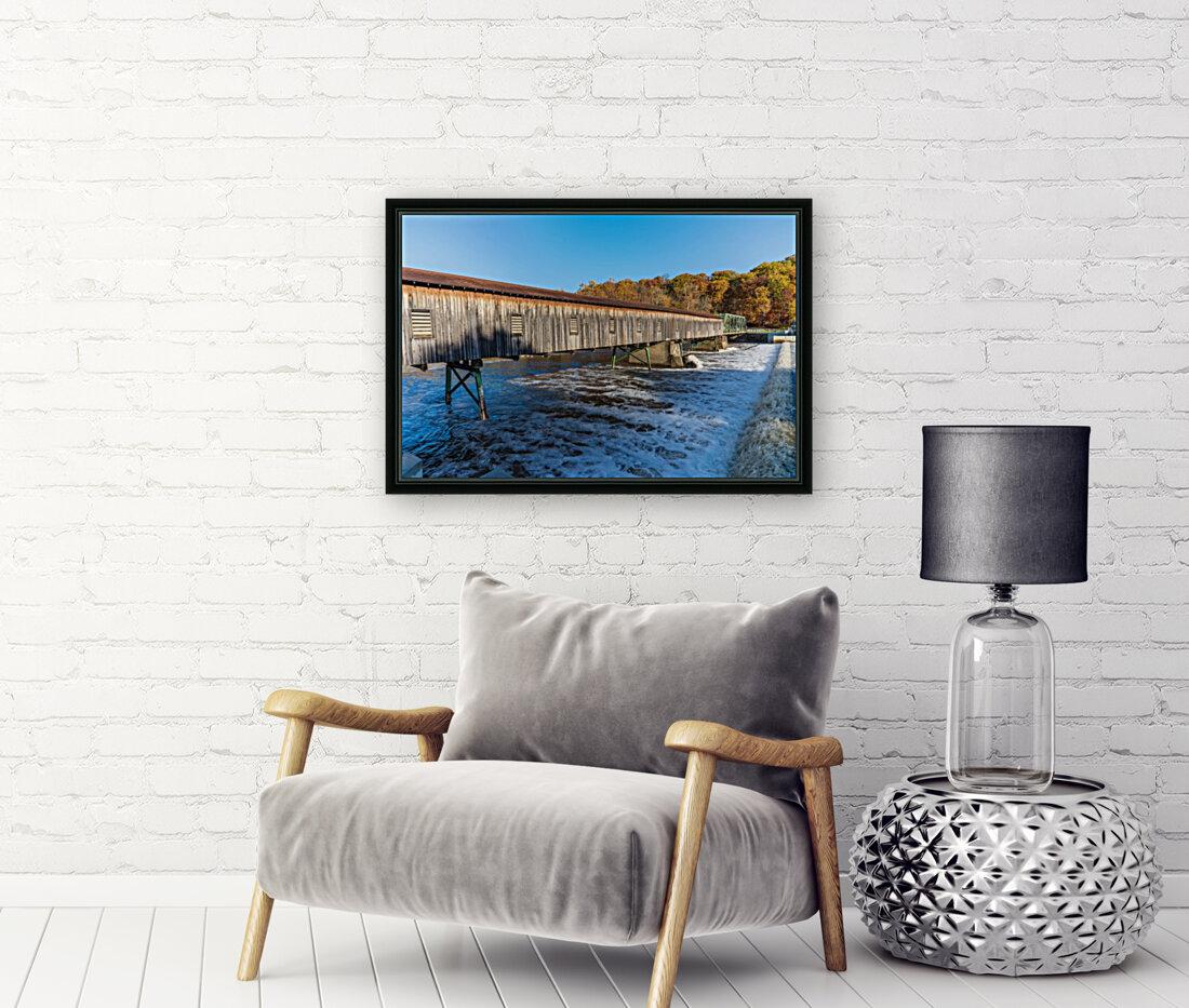 Harpersfield covered bridge and dam Ashtabula County autumn 2020  Art