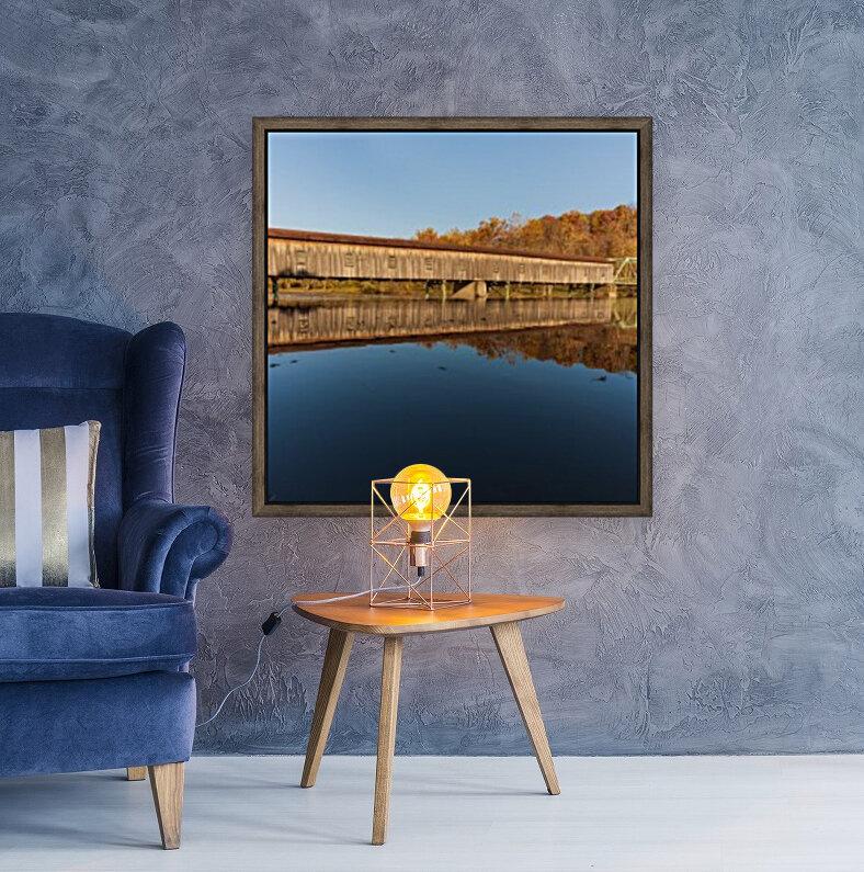 Harpersfield covered bridge and reflection Ashtabula County Ohio  Art