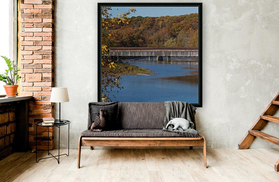Harpersfield Ohio covered bridge in autumn  Art