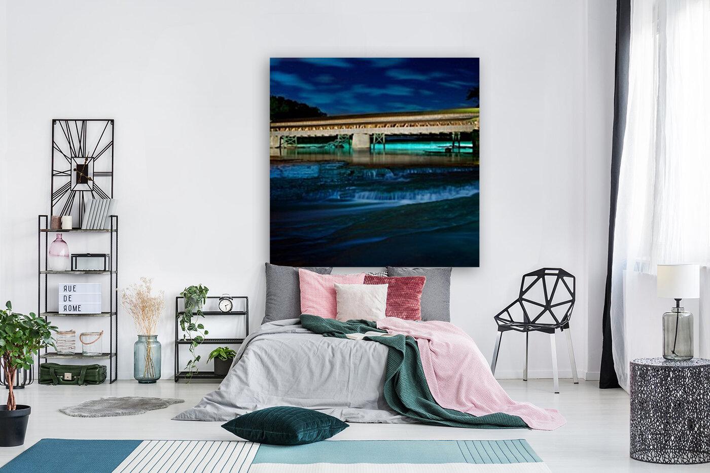 Night image of Harpersfield Covered Bridge over Grand River Ohio  Art