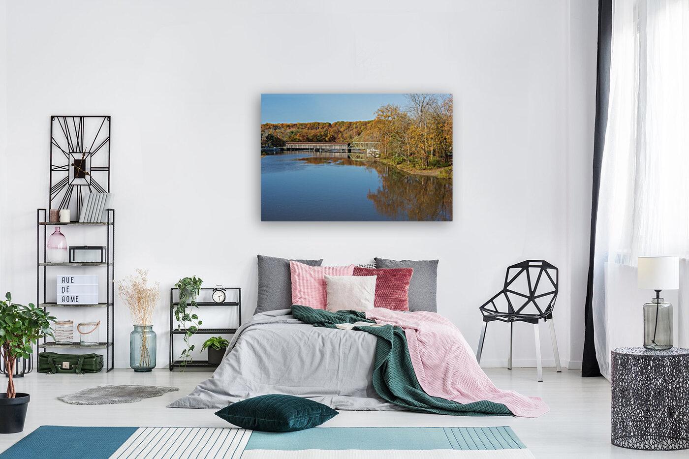 Grand River and Harpersfield covered bridge  Art