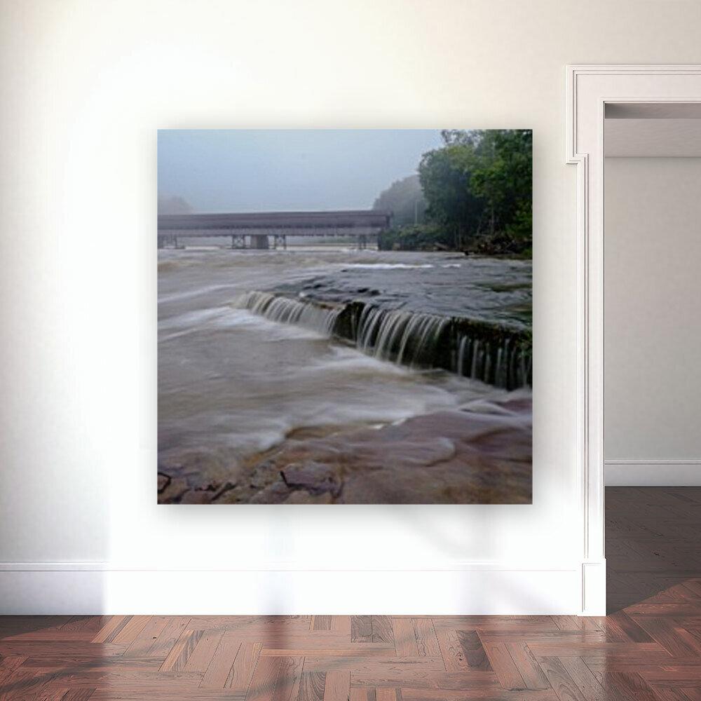 Harpersfield covered bridge and grand river rapids  Art