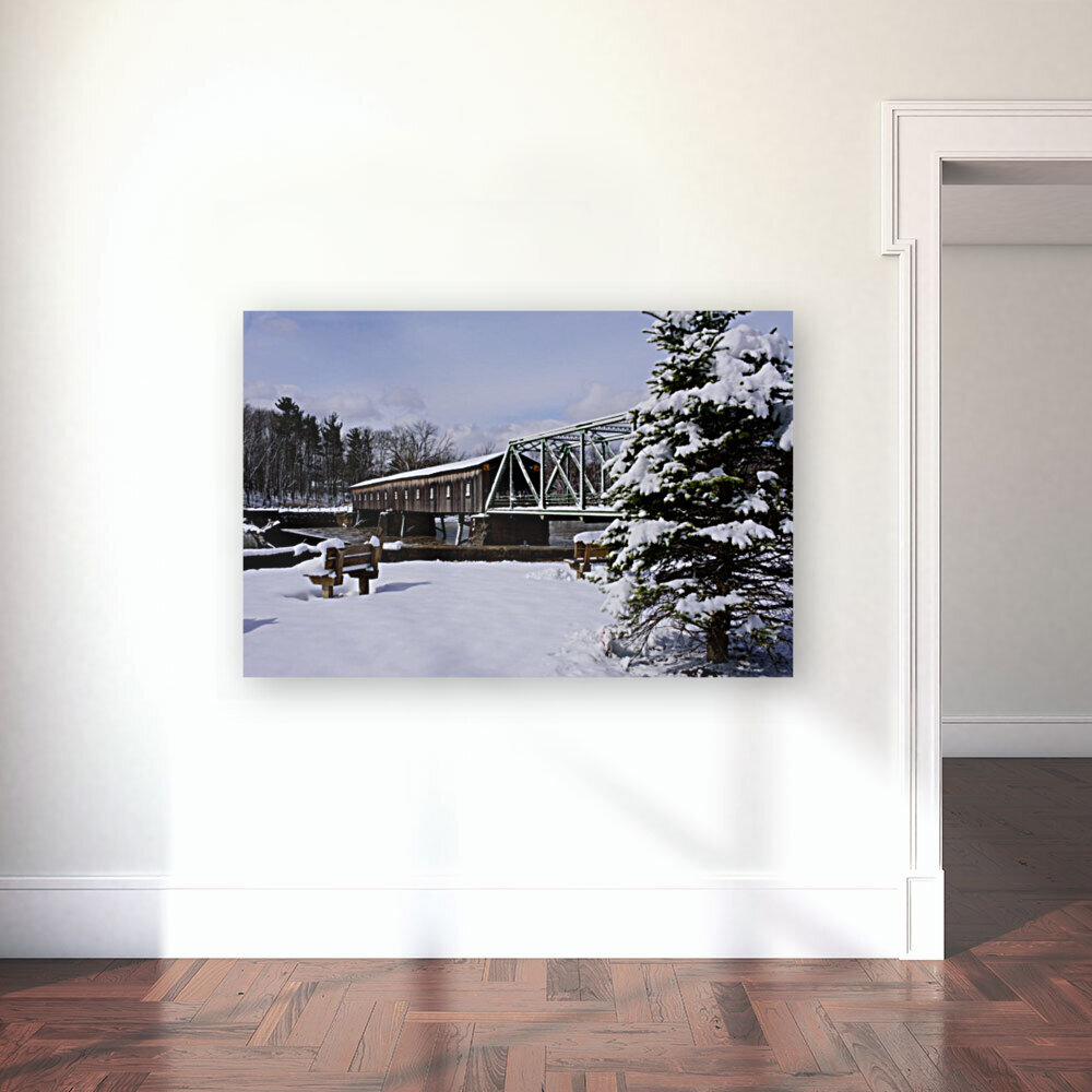 Harpersfield Ohio covered bridge winter and snow  Art