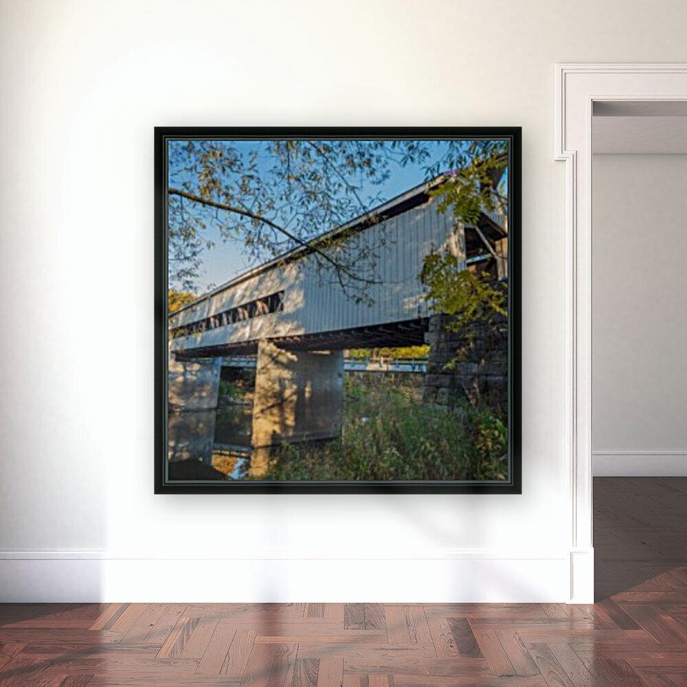 Mechanicsville covered bridge over Grand River Ohio  Art
