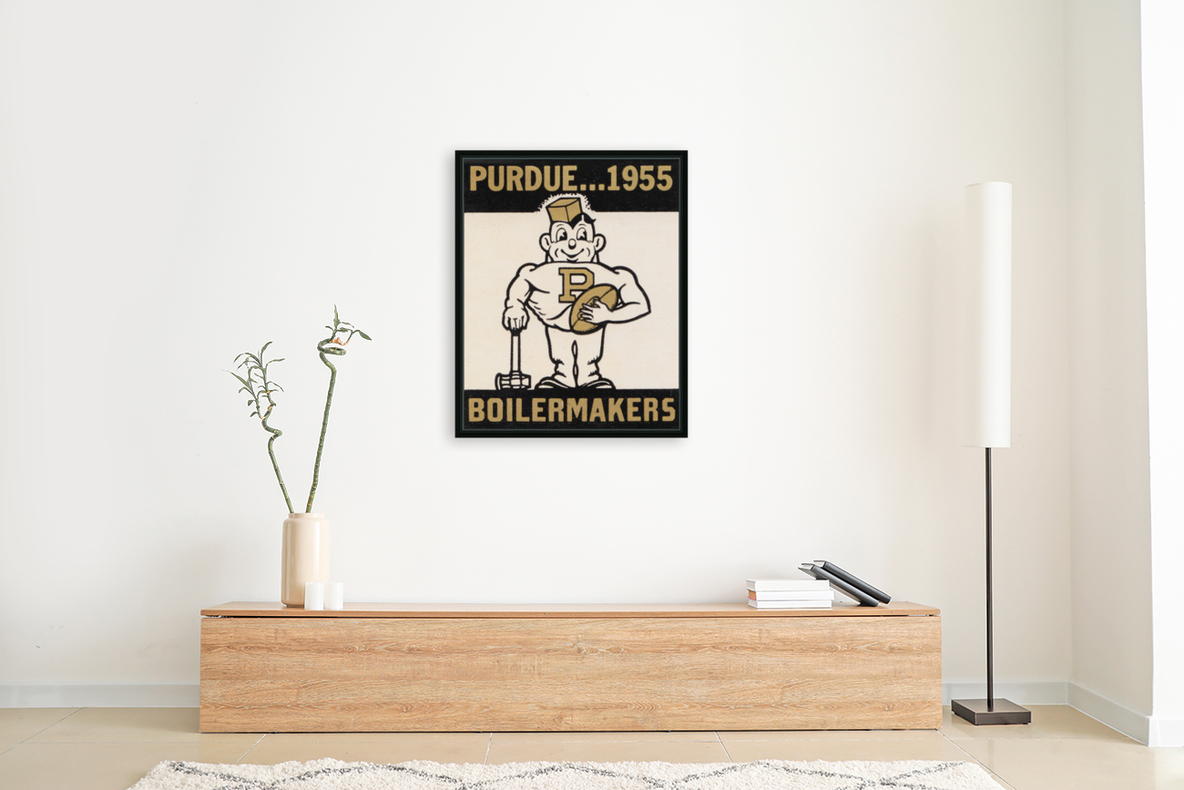 Vintage Purdue Boilermakers Art Print with Floating Frame