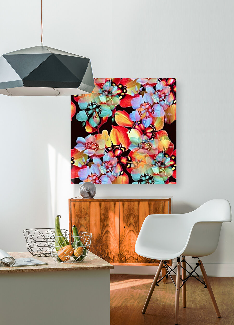 Harlequin Flowers in Watercolor with Floating Frame