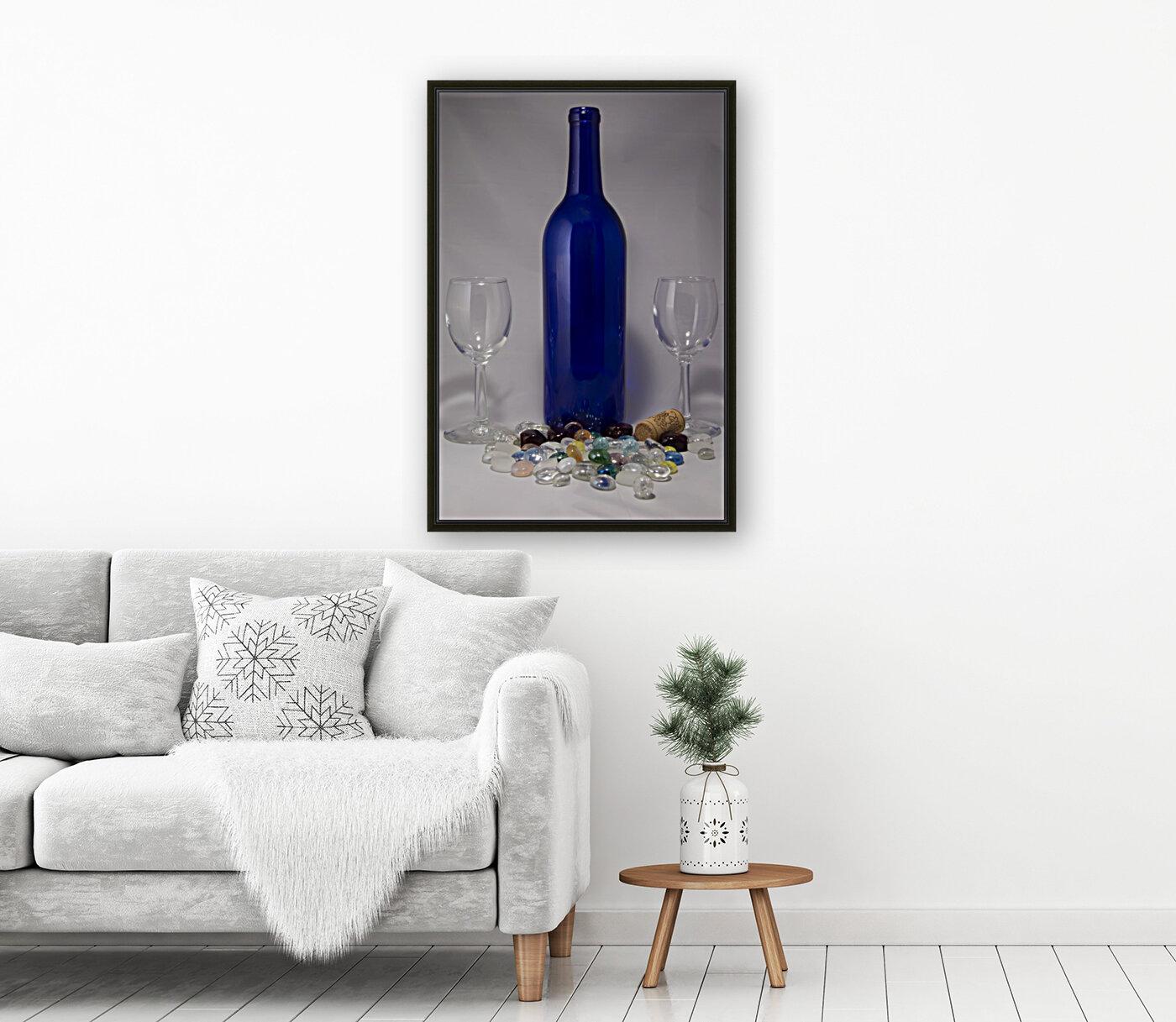 Blue Wine Bottle  Art