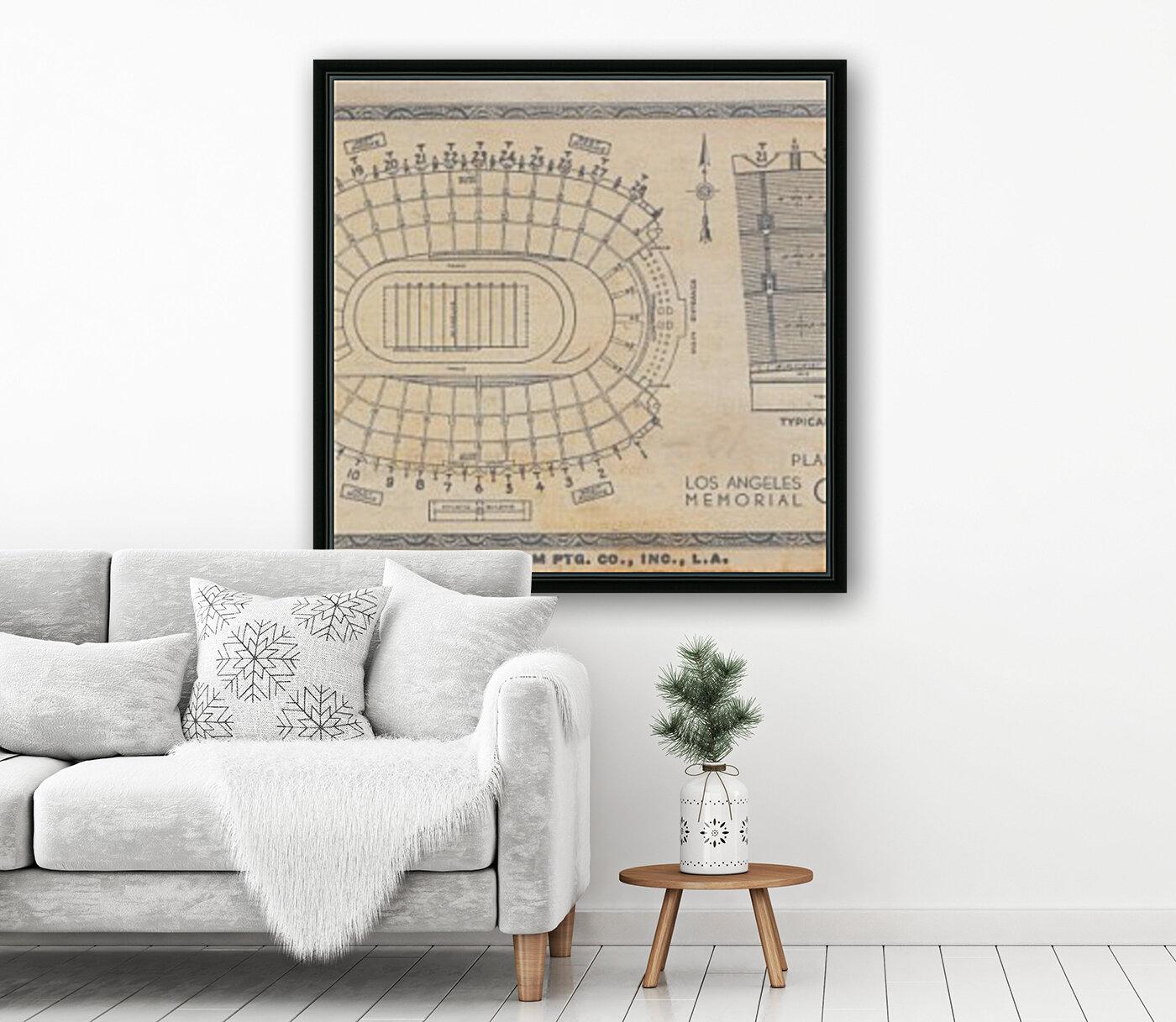 1933 LA Coliseum Map Art  Art