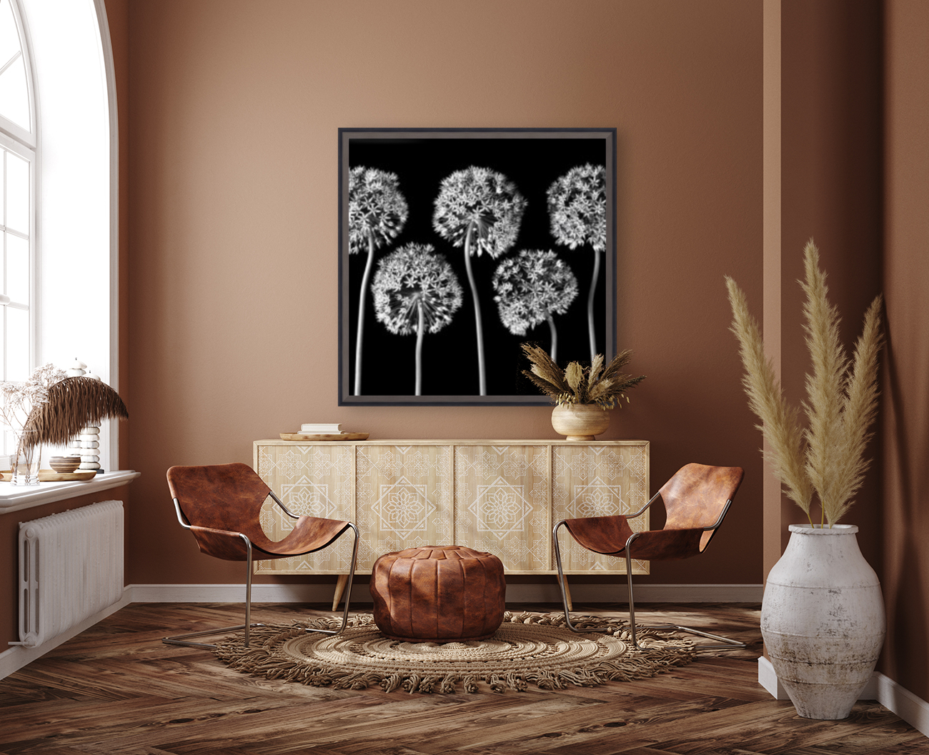 Allium flowers with Floating Frame