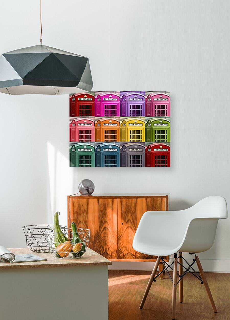Multicoloured telephone boxes  Art