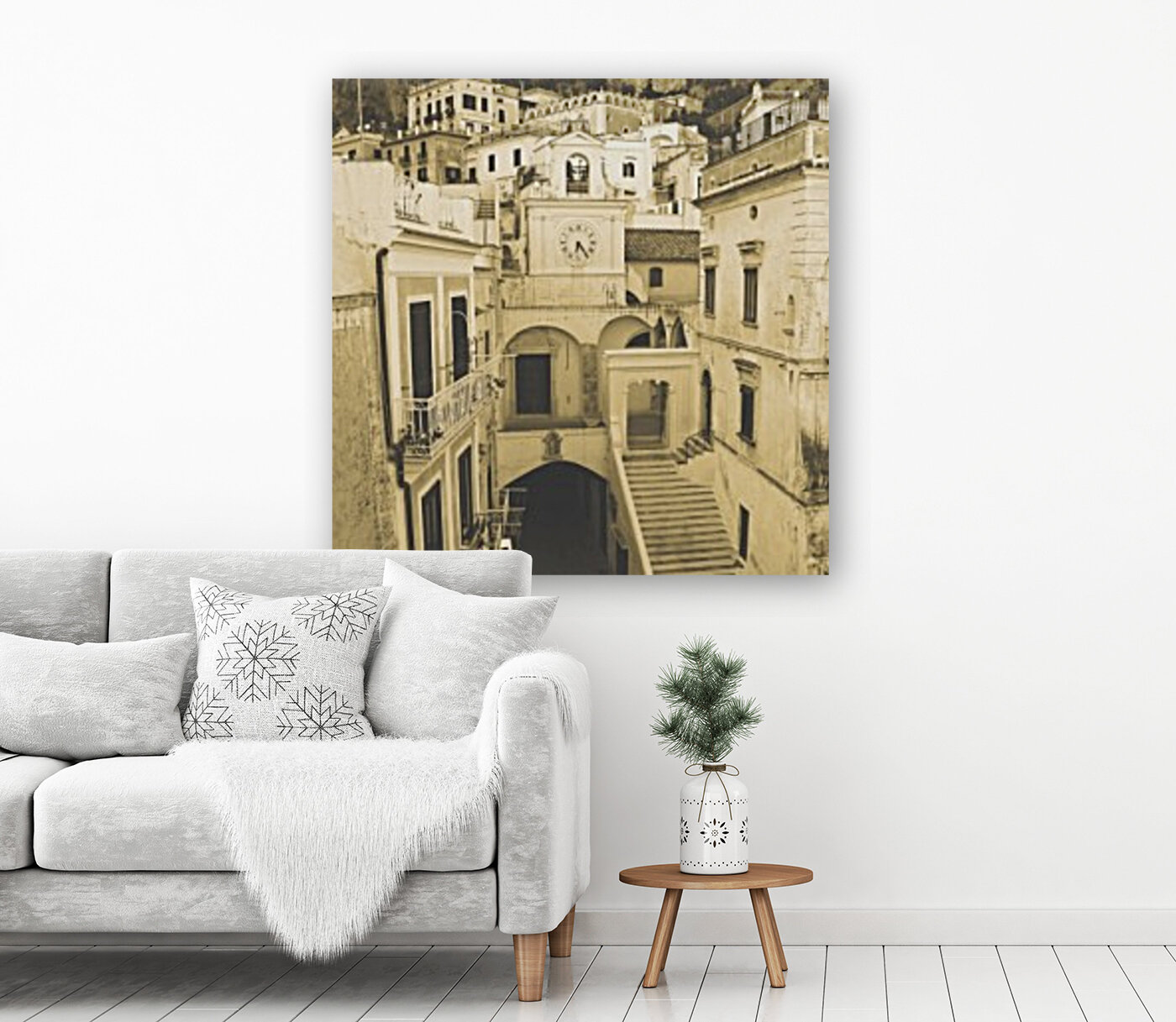 Vintage Style - The village with Floating Frame
