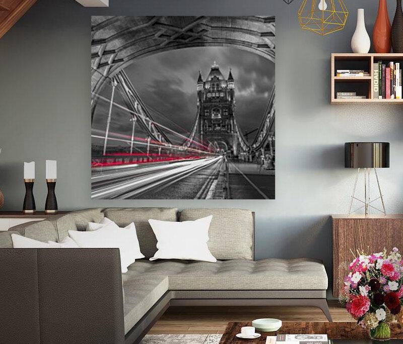Tower bridge with strip lights, London, UK  Art