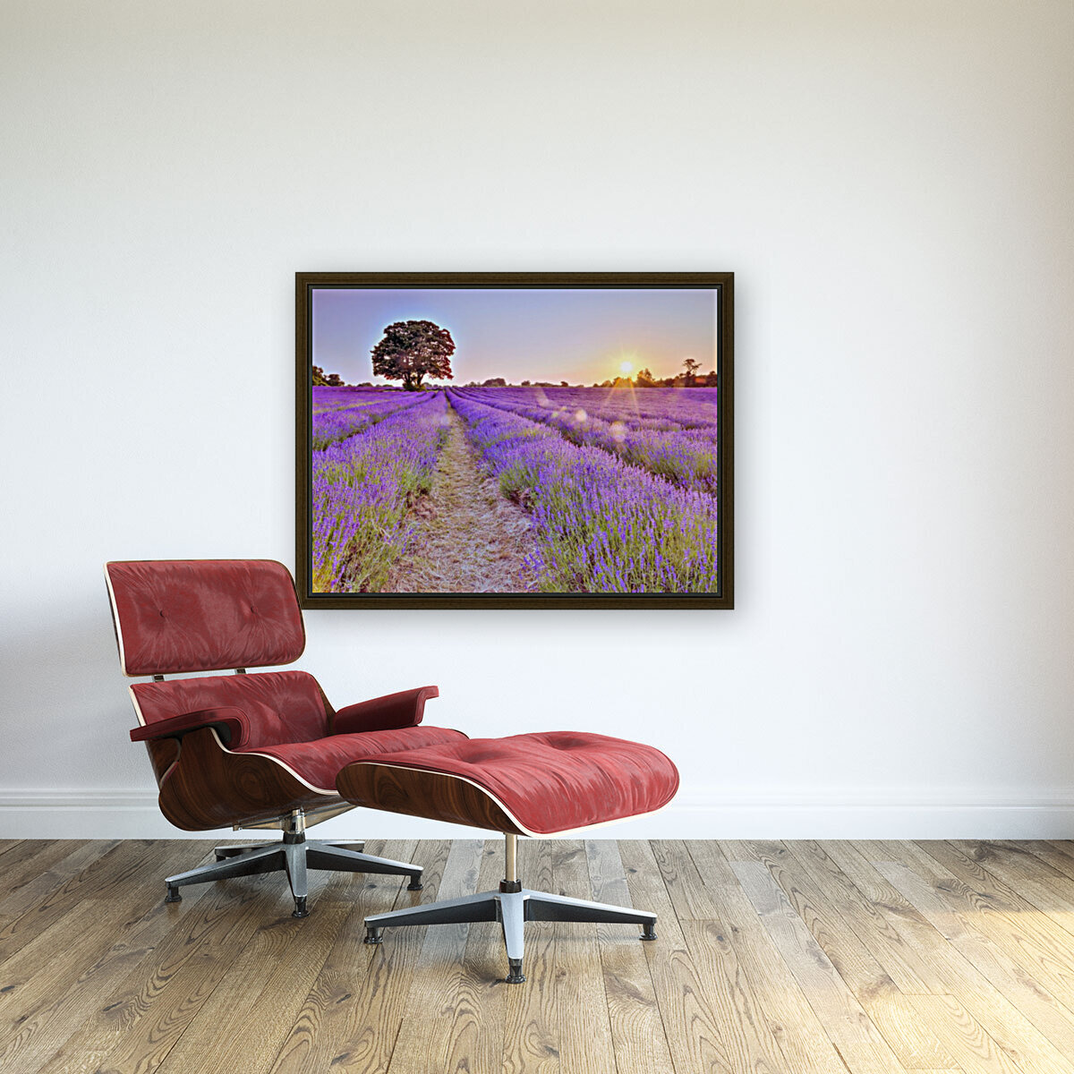 Lavender field at sunset  Art