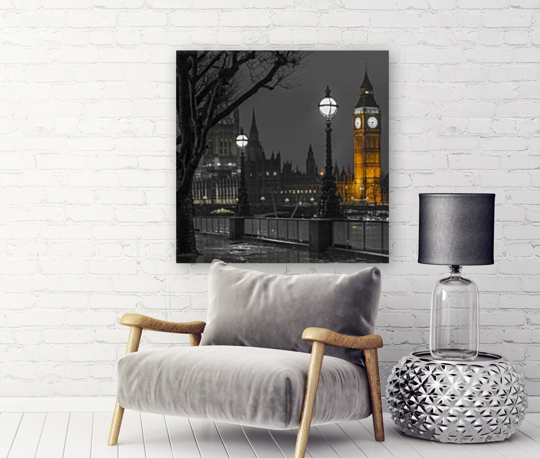 London cityscape in evening from Thames promenade  Art