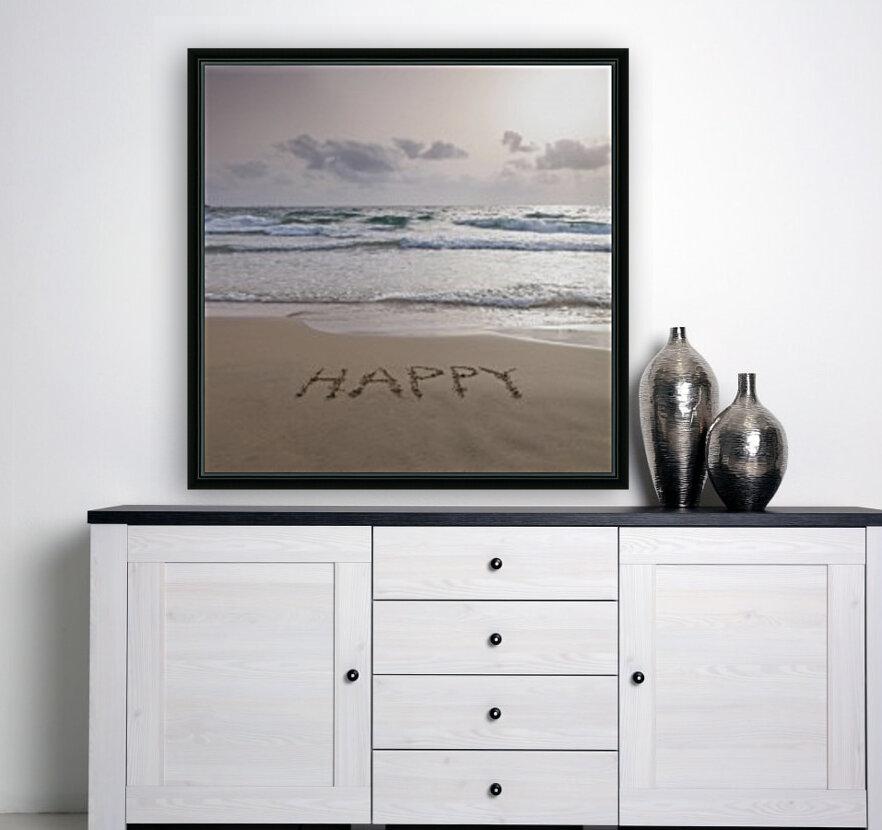 Sand writing - Word Happy written on beach  Art