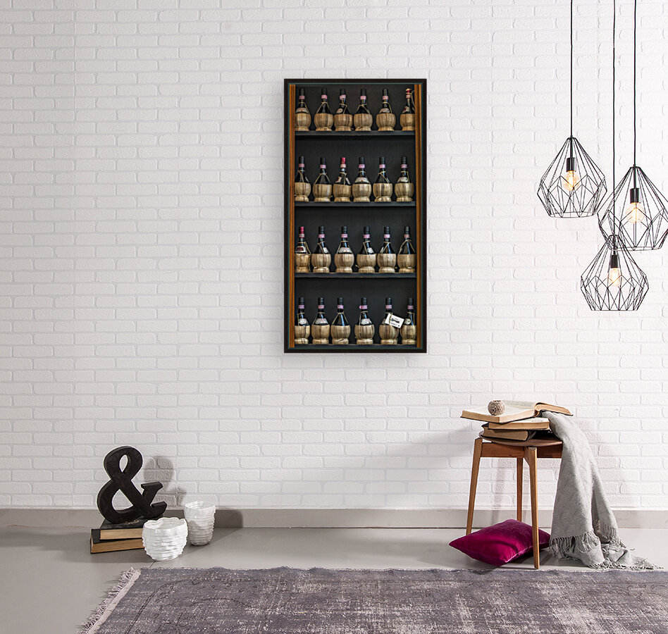 Old wine bottles on wooden shelf  Art