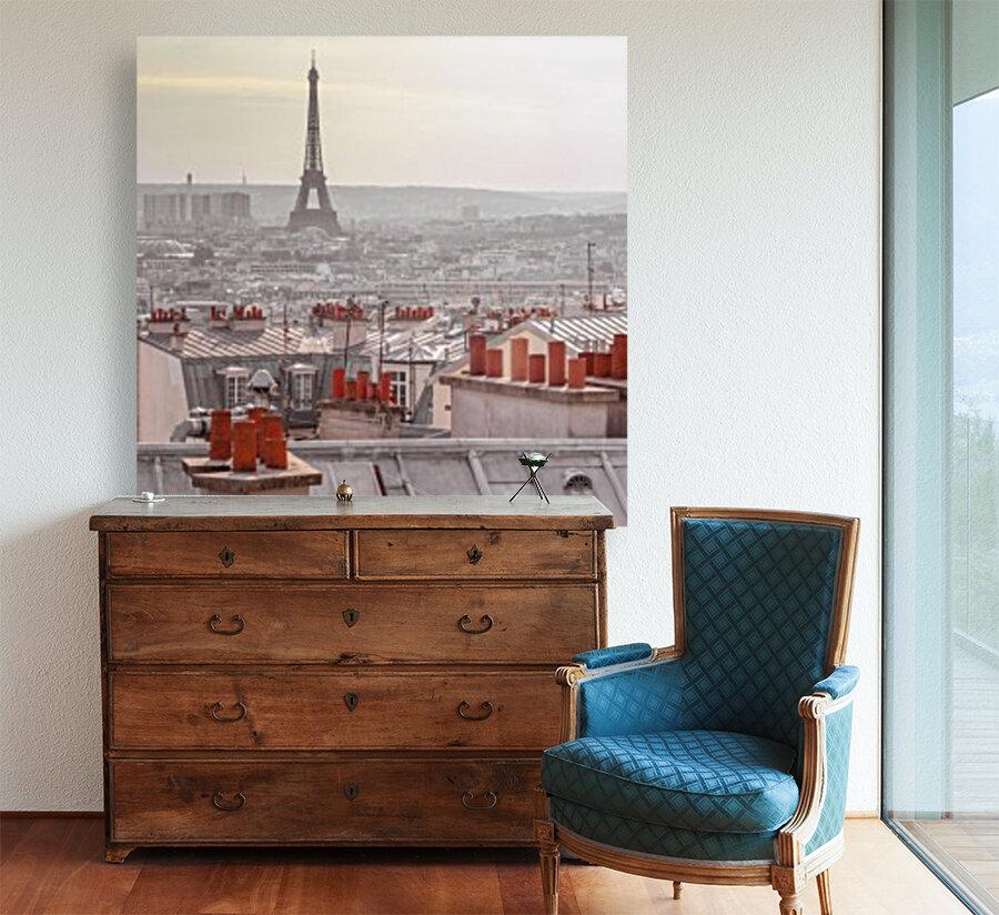 Eiffel Tower seen through the window of an apartment in Montmartre, Paris, France  Art