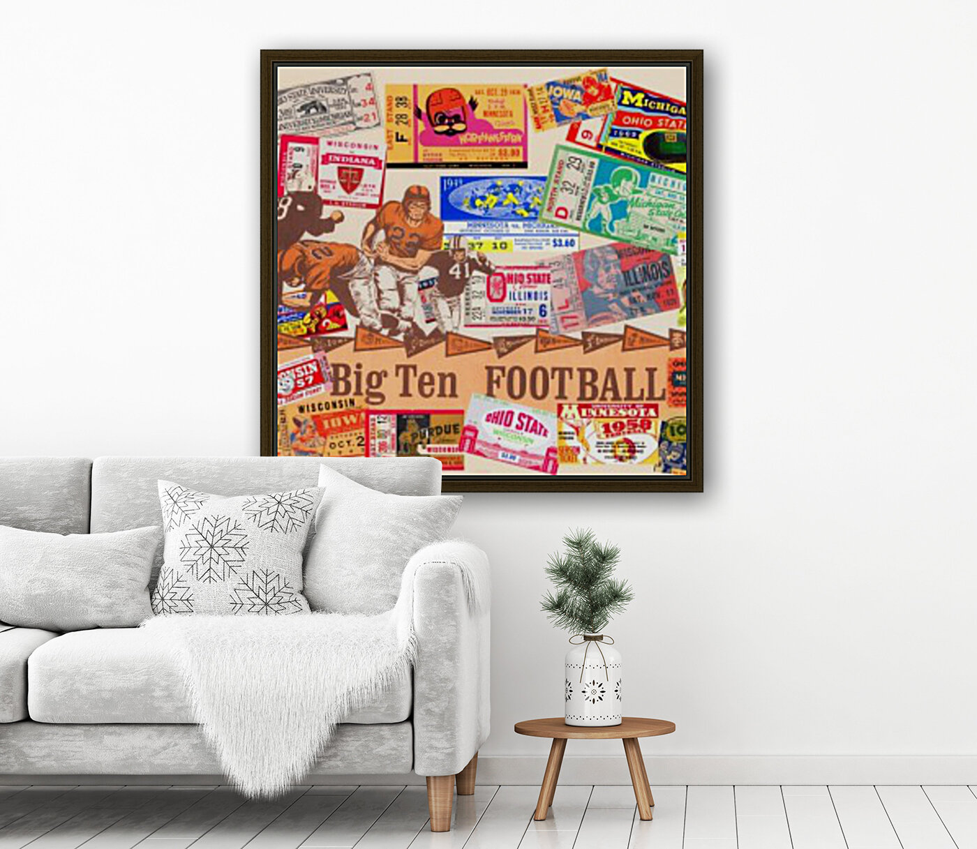 Big Ten Football Ticket Stub Collage with Floating Frame