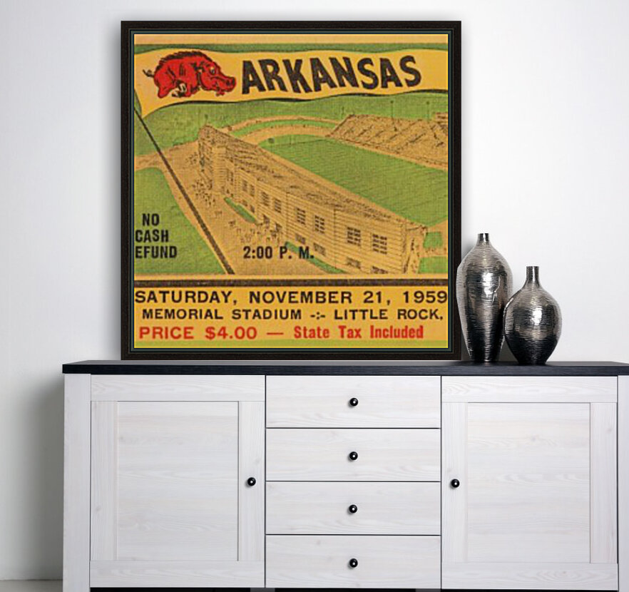 1959 Arkansas Football Ticket Art with Floating Frame