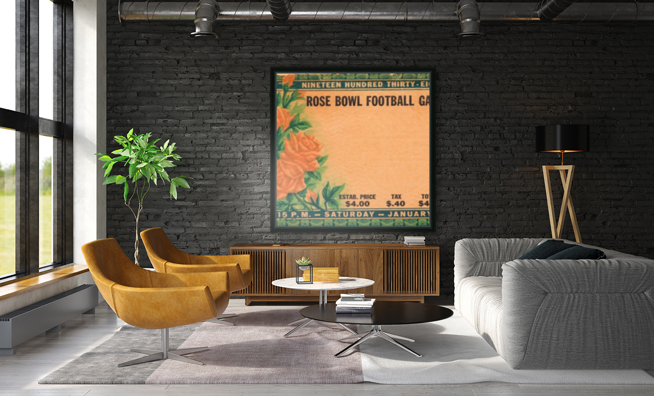 1938 Rose Bowl California Win with Floating Frame