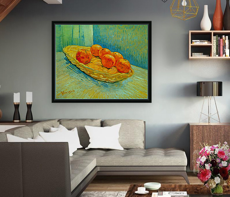 Six Oranges by Van Gogh with Floating Frame