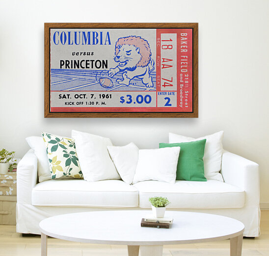 1961 Columbia vs. Princeton Ticket Stub Art  Art
