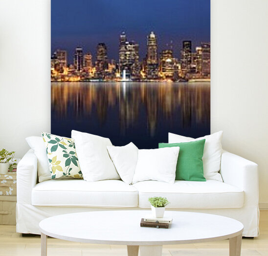 Seattle Skyline Panorama at Night  Art