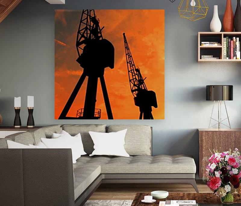 Sunset port tower cranes  Art