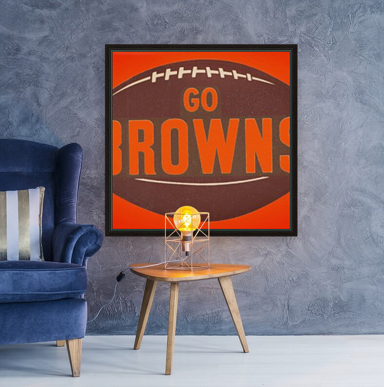 Vintage Cleveland Browns Football Art with Floating Frame