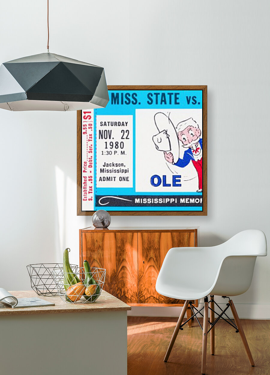 1980 Ole Miss vs. Miss State Football Ticket Stub Art  Art