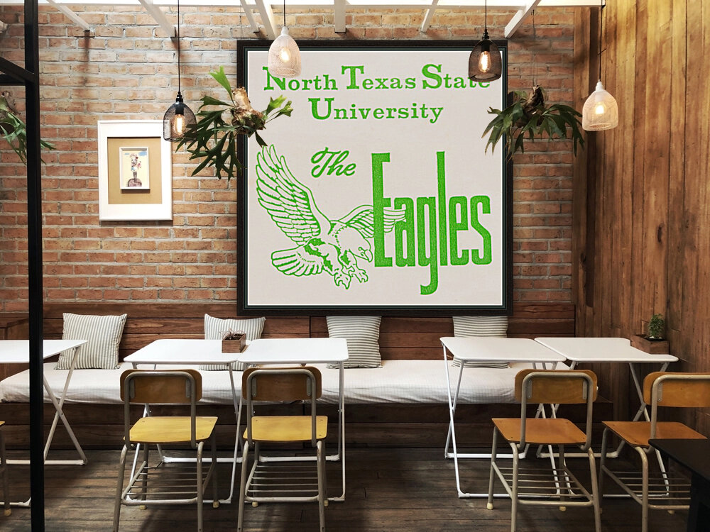 Vintage North Texas State University Eagles Art  Art