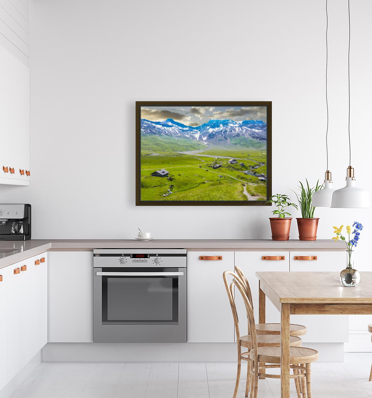 High Alps Village in Spring Switzerland  Art