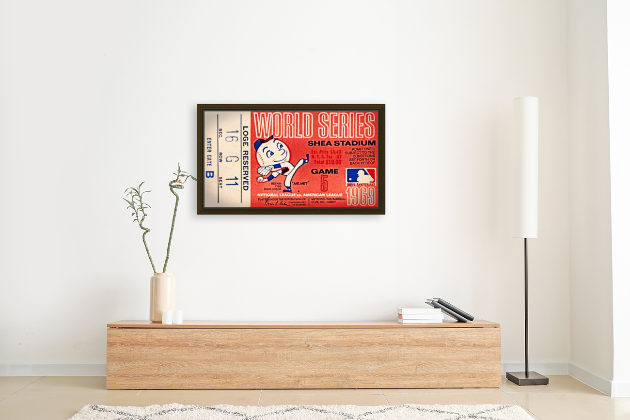1969 New York Mets Game 5 Ticket Art  Art