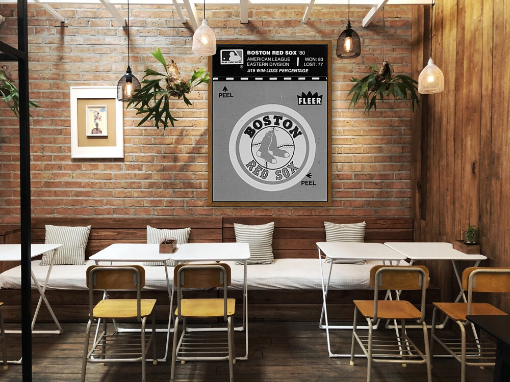 1981 boston red sox fleer decal art black white with Floating Frame