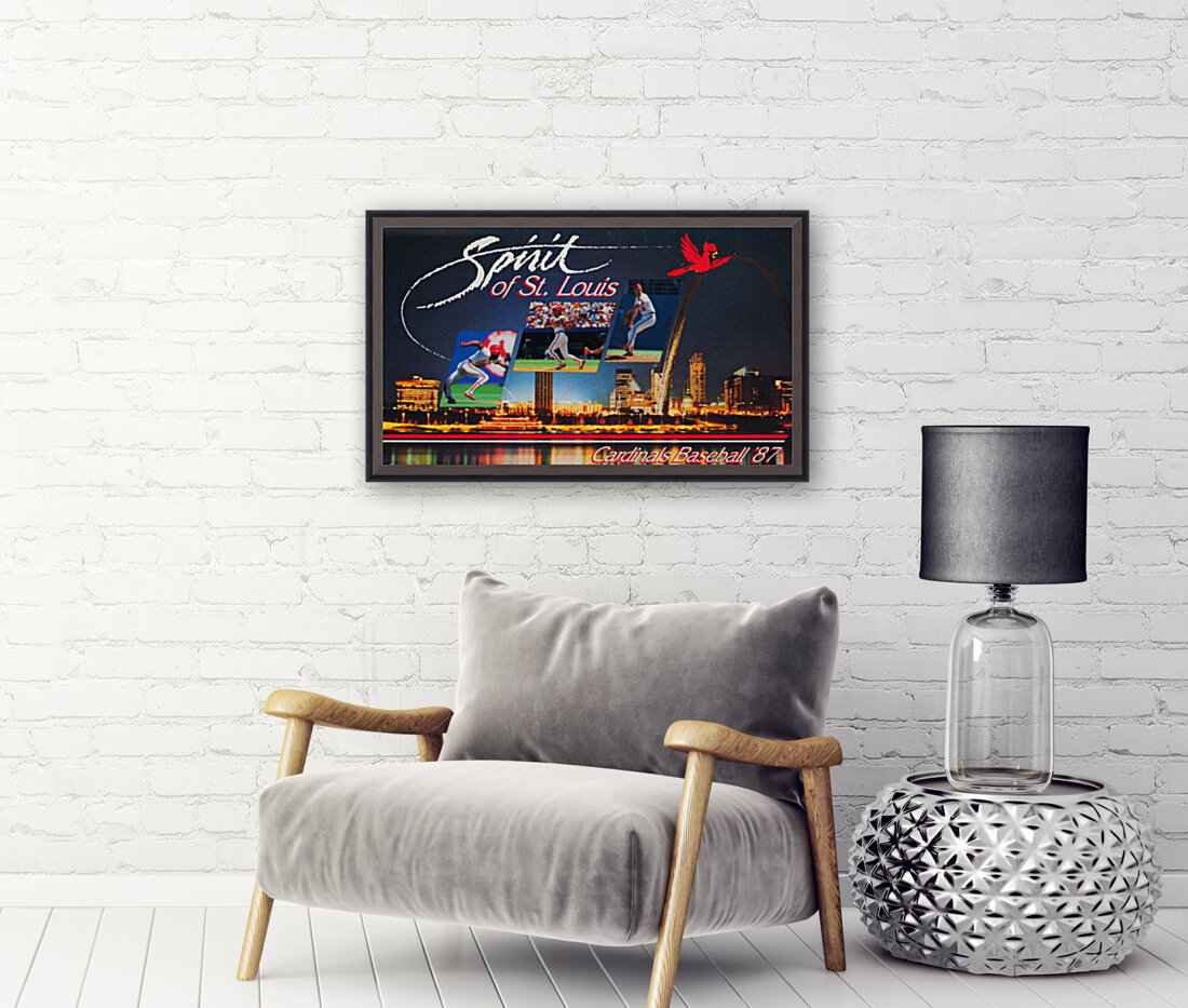 1987 St. Louis Cardinals Baseball Art with Floating Frame