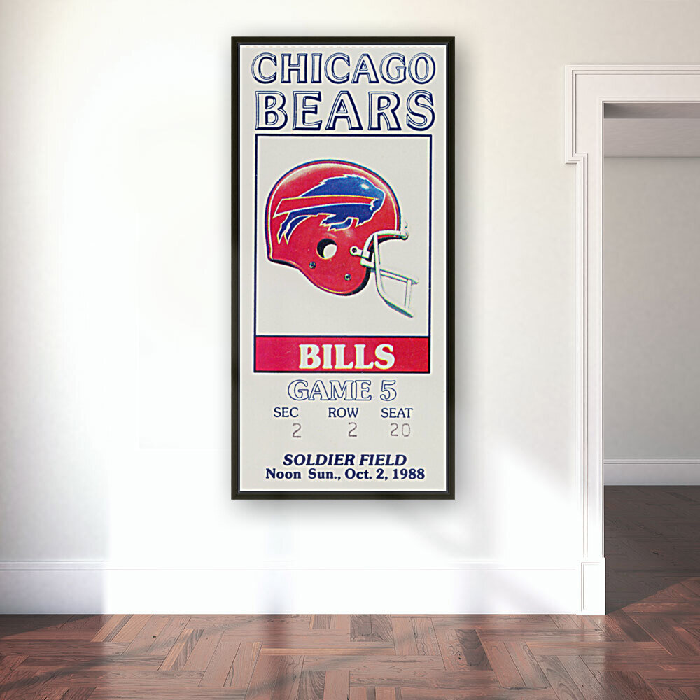 1988 Chicago Bears vs. Bills Football Ticket Art with Floating Frame