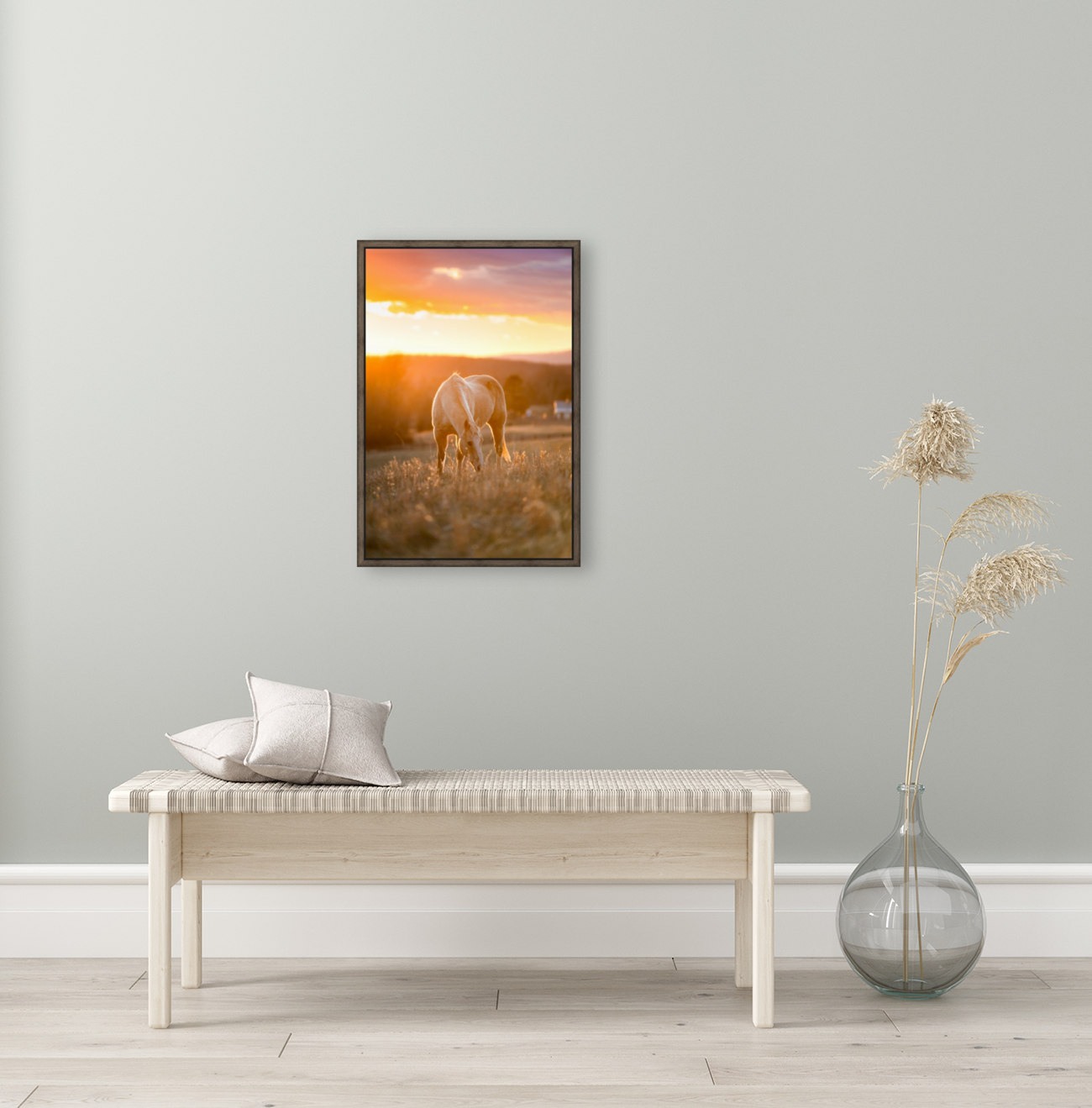 White Horse at Sunset with Floating Frame