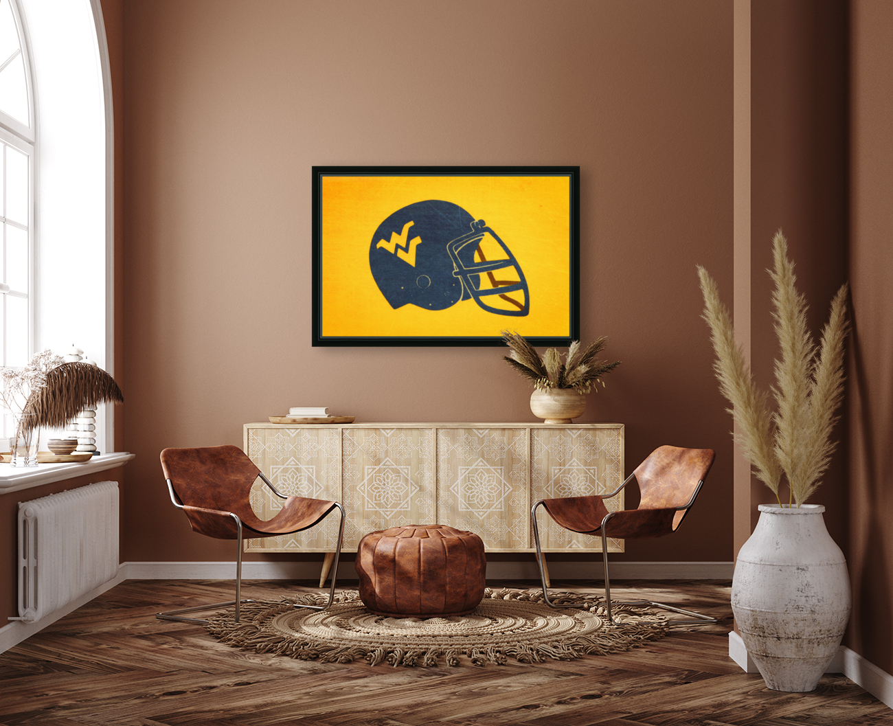 1985 West Virginia Mountaineers Football Helmet Art  Art