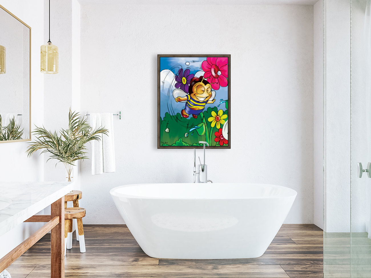 Happiness - Flower Power Buster Bee  Art