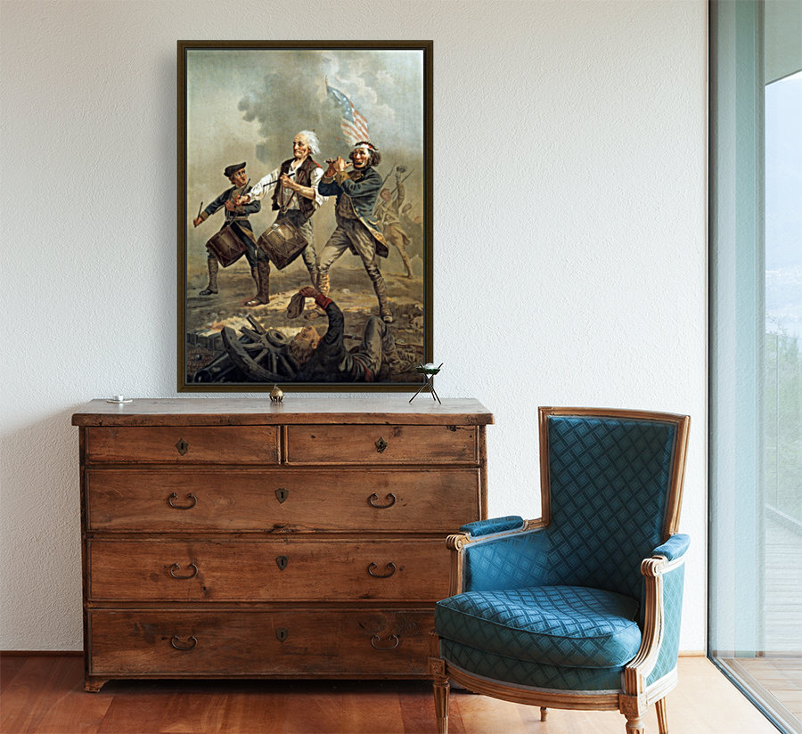 A painting of three men marching through a battle scene  Art