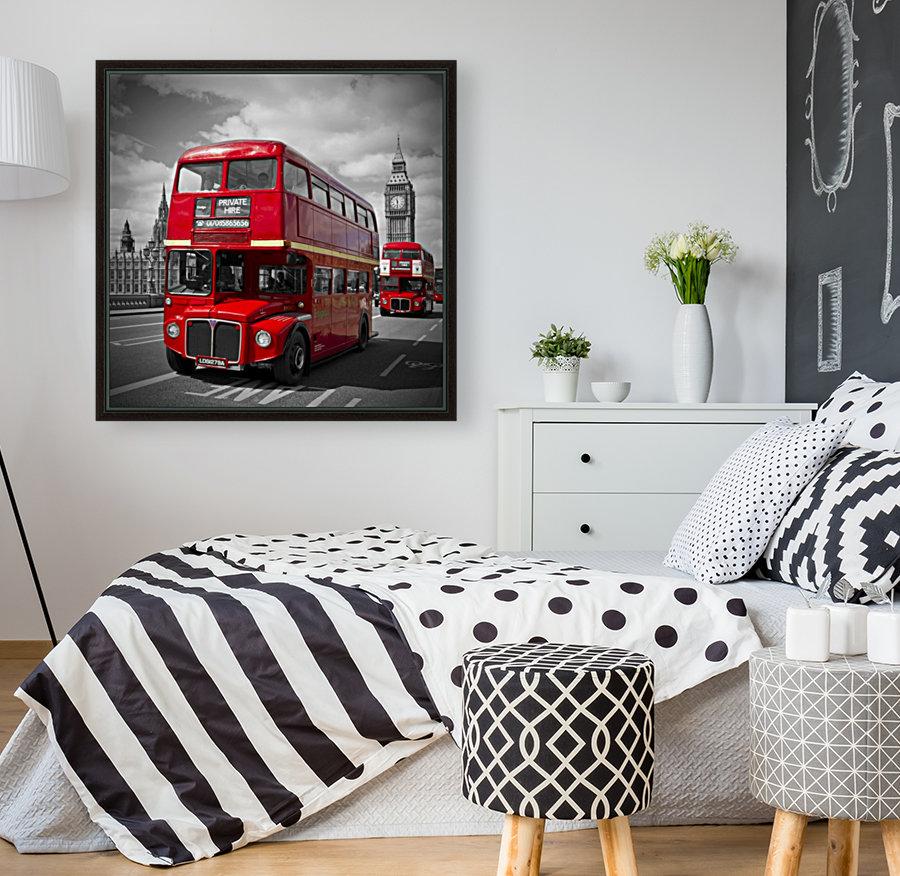 LONDON Red Buses on Westminster Bridge  Art